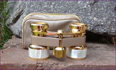Vintage Retro Photax Japan Brass Mother of Pearl Opera Glasses with Case