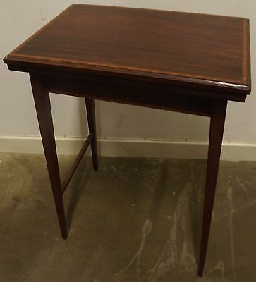 Antique Edwardian Inlaid Mahogany Small Fold-Over Card Games Occasional Table