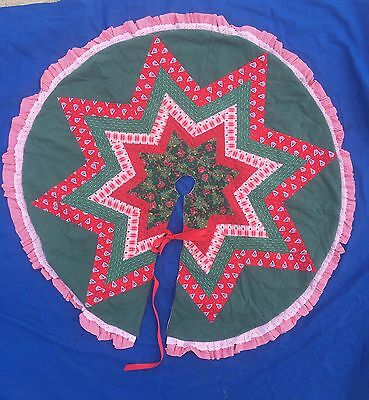 """Quilted Christmas Tree Skirt Assorted Christmas Prints, W Hand Stitching 50"""""""