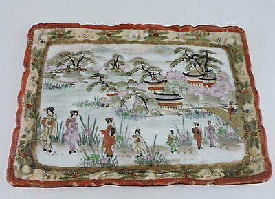 Vintage Vanity Tray Japan Made Hand Painted Geisha Moriage Scenic Signed