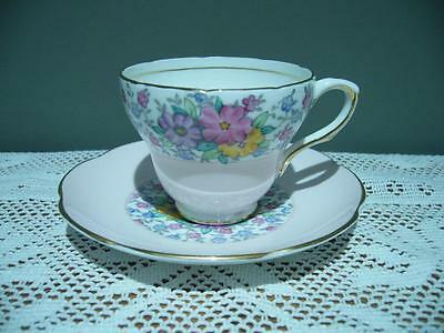 E B Foley England Lovely Hand Painted Floral Gilt Demitasse Cup & Saucer - Vgc