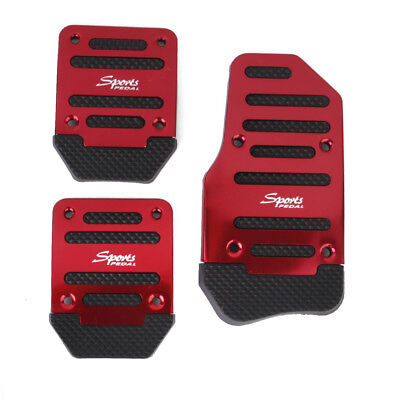 3pcs Non-Slip Accelerator/Brake/Clutch Pad Pedal Cover for MT Cars Red