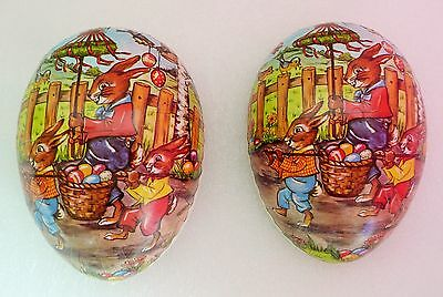 Vintage German Paper Mache Easter Egg Container With Rabbits