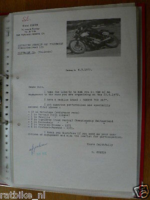 Ht134-Original Letter From Blaise Curtin 350 Cc Yamaha Tubbergen 1972
