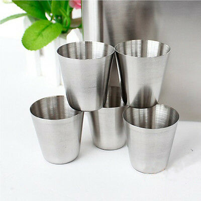 Stainless Steel Mini Travel Camping Whisky Wine Flask Tumbler Cups 35ml 1oz Set