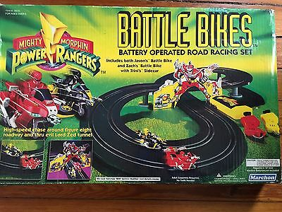 Mighty Morphin Power Rangers Marchon Battle Bikes Slot Car Set Mmpr Untested