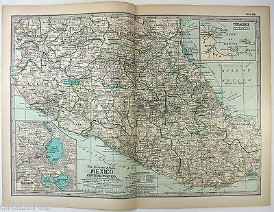 Original 1897 Map of Central Mexico by The Century Company