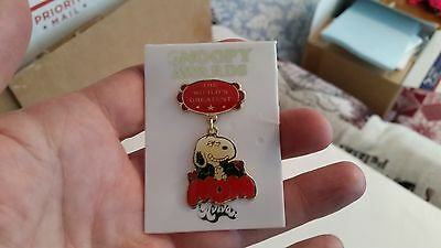 Peanuts Snoopy Cloisonne Pin The World's Greatest MOM Aviva 1958 Mint