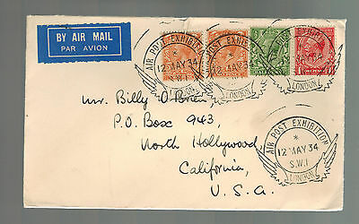 1934 London England Air SHow Airmail Cover to USA with Label