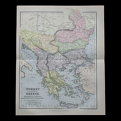 Antique 1883 colour map of the BALKANS - 130+ years old & VGC !