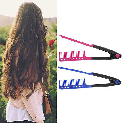 Hot Folding V Comb Hair Straightener Hairdressing Salon Straightening Brush Tops