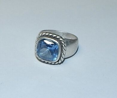 Mexican 925 silver Taxco Blue Topaz stone, size 7.5