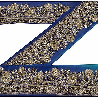Vintage Sari Border Antique Hand Beaded Woven 1 YD Trim Blue Kundan Lace
