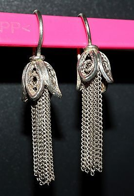 UNIQUE rare Soviet EARRINGS SILVER 916 star Russian USSR Antique
