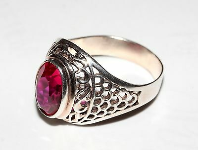 Super beauty Natural RUBY stone Size 10 Ring Silver 875 USSR Antique