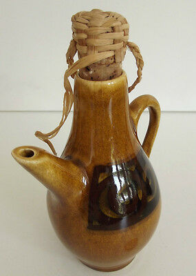 Brixham Pottery vinegar bottle, oil jar Vintage cruet condiment English Devon