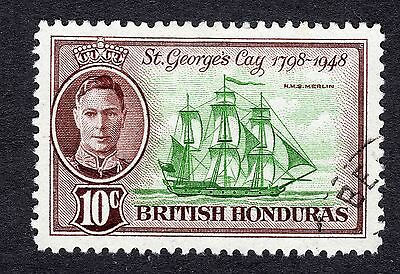 1949 British Honduras 10c Green and Brown SG170 Fine Used R6515