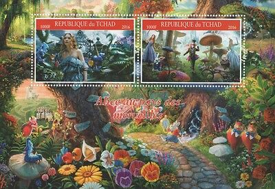Alice In Wonderland Johnny Depp Movie Tchad 2016 Mnh Stamp Sheetlet