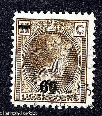 1927 Luxembourg 60c on 80c Brown SG 278 Fine USED R24260