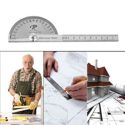 Stainless Steel Protractor Rotate Round Angle Ruler 100mm Craft Measure Tool JC