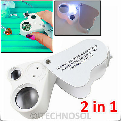 30X & 60X Jewellers Jewelry Eye Magnifier Magnifying Lens Glass Loupe LED Light