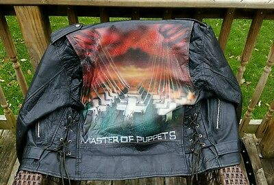 Vintage 80's METALLICA Custom Airbrushed Master of Puppets Leather Jacket