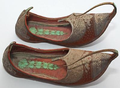 ANTIQUE INDIAN KHUSSA MOJARI JUTTI SHOES SLIPPERS WITH GOLD THREAD  26cm LONG #1