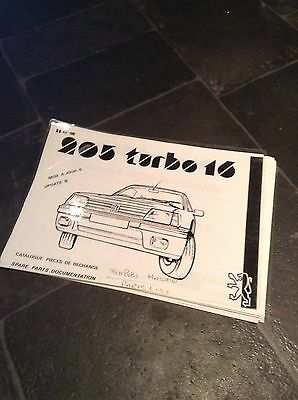Peugeot 205 Turbo 16 (t16) Parts Catalogue (diagrams & Part Numbers)