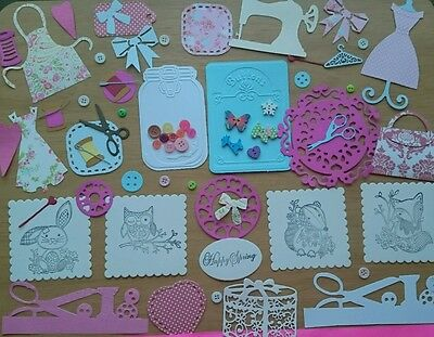 Sewing themed card  making kit. craft room clearout,