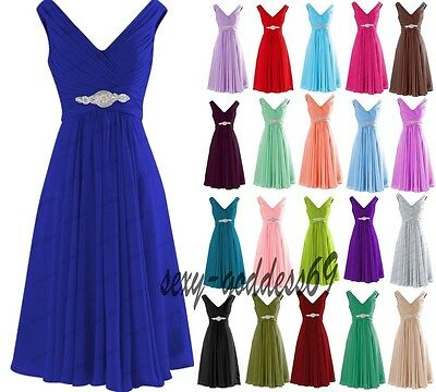 Short Chiffon Bridesmaid Formal Gown Ball Party Evening Prom Dress Size 6-28