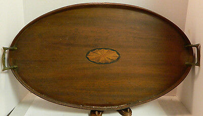 """Vintage Mahogany Inlaid Oval Brass Handled Wooden Serving Tray 24.5"""" x 14.5"""" Gd"""