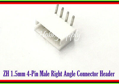 ZH 1.5mm 4-Pin Male Right Angle Connector Header for PCB Board x 50 pcs