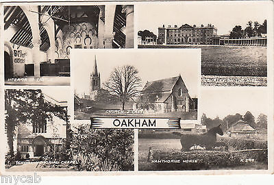 Postcard Oakham Rutland interesting multiview posted 1956 RP