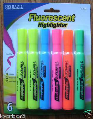 BAZIC Fluorescent Highlighter Markers, Chisel Tip Pack of 6 Sealed as Pictured