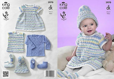 King Cole DK Knitting Pattern 3970:Sweater,Dress,Pullover,Hat &Bootees