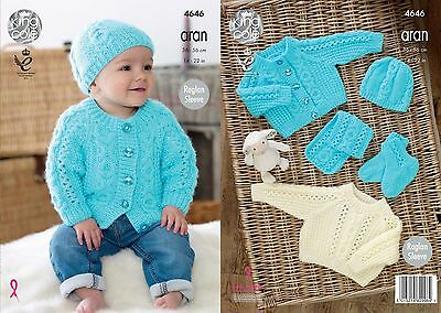 King Cole Aran Knitting Pattern 4646:Childs Sweater,Cardigan,Hat,Scarf & Bootees