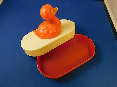 Vintage  Plastic Easter Duck Child Rattle Duck Rattle Container 1950's