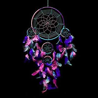 Large Blue Dream Catcher Aqua Pink Purple Wall Hanging Decoration Ornament Gift