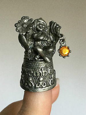 Stephen Frost Pewter Thimble November Birthstone Fairy