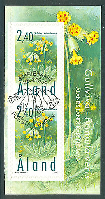 ALAND 1999 stamp Cowslips Flowers pane header 2 stamps fine used (CTO) SA