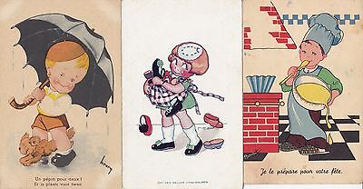 3 x Vintage Postcards Of Cute Children - Artist Signed - French - Greetings