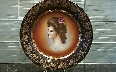VICTORIAN ROYAL VIENNA PORTRAIT PLATE GOLD BEEHIVE MARK with Hanger