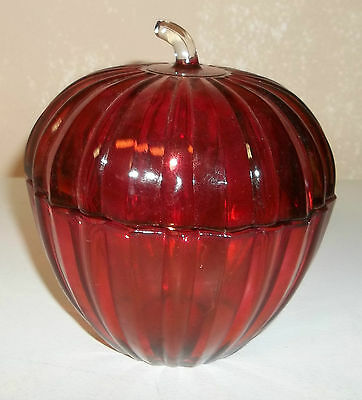 Red Ribbed Art Glass Covered Apple Shaped Candy Dish/Slight Iridescent/RARE