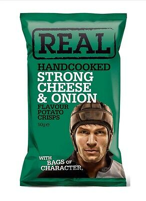 Real Crisps Strong Cheese & Onion Flavour 50g (Box Of 18)