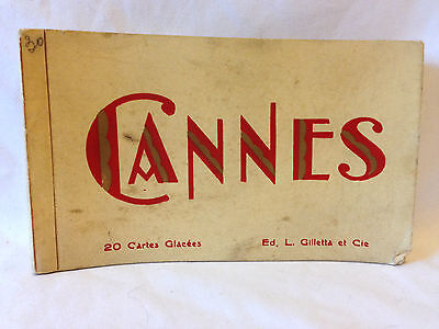 Vintage early to mid century Cannes L. Gilletta postcard booklet France Art Deco