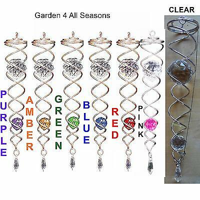 "COPPER 12""/30cm CRYSTAL TWISTERS Wind Spinner Sun Catcher Iron Stop Hook Garden"