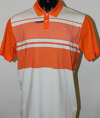 Puma Golf Patternblock PWRCOOL Polo Shirt - Vibrant Orange - 2016 Collection