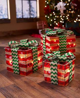 Set Of 3 Lighted Gift Boxes Presents Christmas Holiday Home Decorations
