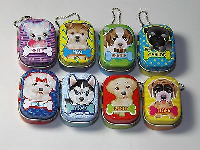 Cute Puppy Club Lucky Charm toy figures, with it own keychain tin, 8 to collect