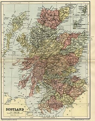 Scotland Map: Authentic 1895; showing Towns, Counties, Topog. Railroads